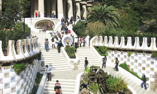 Front of Parc Güell from Antoni Gaudi must see in Barcelona