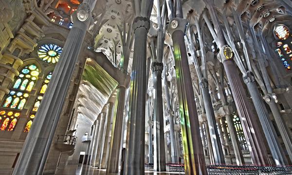 Interior of la Sagrada Familia from Antoni Gaudi must see in Barcelona